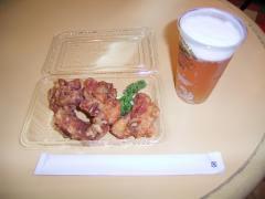 鳥ザンギで生ビールを飲る